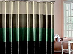 Hampton Hotel Block Shower Curtain-4 Colors