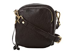 KC Square Biz Crossbody Leather Bag,  Black