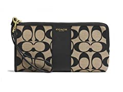Coach Legacy Signature L-Zip Zippy Wallet, Black