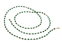 18k Plated Dyed Emerald Stone Necklace