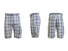 GBH Men's Flat Front Plaid Cargo Shorts