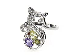 18k White Gold Plated Multicolor CZ Ring