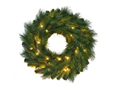 "24"" Pre-Lit Mixed Pine Wreath"
