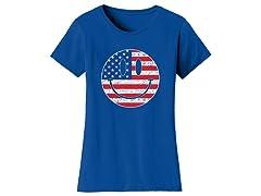 Womens Happy Face USA Flag Tee