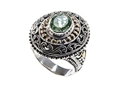 18kt Gold Accent Green Amethyst Ring