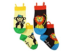 2-Pk Socks - Monkey & Lion