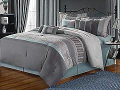 Euphoria 8Pc Comforter Set - Blue - 2 Sizes