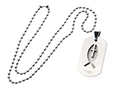 Stainless Steel Dog Tag w/ Cross and Fish