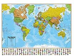 World Blue Ocean Wall Map