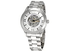 Men's Silver Dial Skeleton Watch