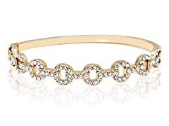 Gold/Clear Swarovski Elements Multi Circle Bangle