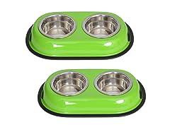 2 Pk Nonskid Double Diner Bowl-3 Colors