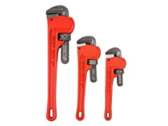 3 PC Heavy Duty Pipe Wrench Set with Storage Pouch