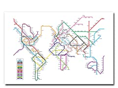 World Map - Subway 18x24 Canvas