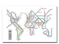 World Map - Subway 18x24 Canvas