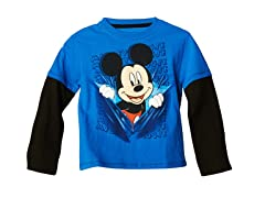 Mickey Long Sleeve Tee - Blue (2T-4T)