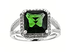 SS Micropave Green Princess Cut CZ Ring