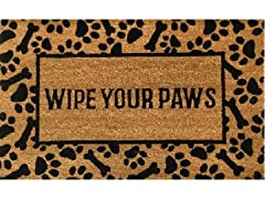 Outdoor Mat - Wipe Your Paws, Brown