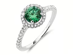 SS Micropave Green Round-Cut CZ Halo Ring