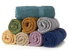 MicroCotton 4pc Bath Towel Set-10 Colors