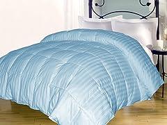 Stripe Down Alternative Comforter-Lt. Blue-3 Sizes