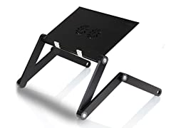 Adj/Portable Laptop Table w/Fans - Black
