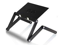 Adj/Portable Laptop Table w/Fans - Black