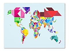 Tangram Worldmap Canvas Art