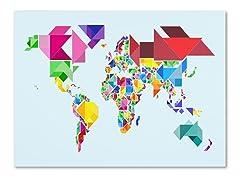 Tangram Worldmap Canvas Art