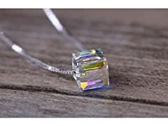 Aurora Borealis Crystal Cube Necklace