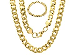 Men's 18k Gold Plated Stainless Steel Cuban Chain Bracelet/Necklace Set