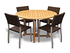 48-Inch Table, 4 Silver Sidechairs