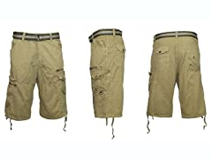 Belted Cargo Shorts, Thigh Zip