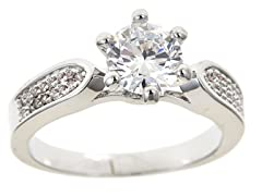 18kt WG Plated Sim Diamond Engagement Ring