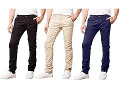 3PK Mens Flat Front Uniform Pants