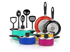 Vremi 15 Piece Nonstick Cookware Set, Multicolor