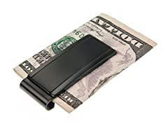 Brushed & Polished Black SS Engravable Id Money Clip