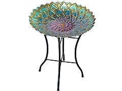 Outdoor 18-Inch Mosaic Flower Fusion Glass Bird Bath w/ Stand
