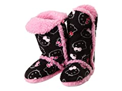 Hello Kitty Junior's Tall Sherpa Trim Slipper Bootie, Black
