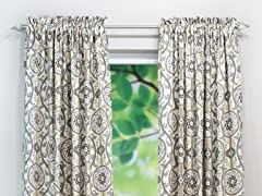 Oh Suzani Rod Pocket Curtain Panel-Metal-3 Lengths