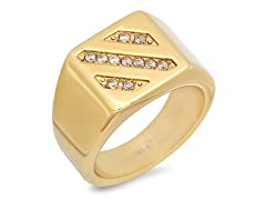 18kt Gold Plated Ring w/ Sim. Diamonds