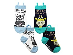 2-Pk Socks - Zebra & Giraffe