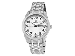 Men's Silver & White Dial Bracelet Watch
