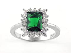 SS Micropave Green Emerald Cut CZ Ring