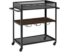 WE 36 Inch Bar Serving Cart- Dark Walnut