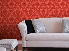 Heirloom Damask Warm Red Tiles
