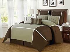 8-Pc Royalton Comforter Set- Brown (Multiple Sizes)