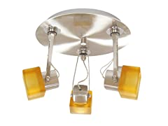 3-Light Satin Ceiling Mount, Amber