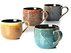 Four 16 oz Mugs Reactive Glaze