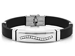 Men's Rubber Bracelet w/ Diamond Accents